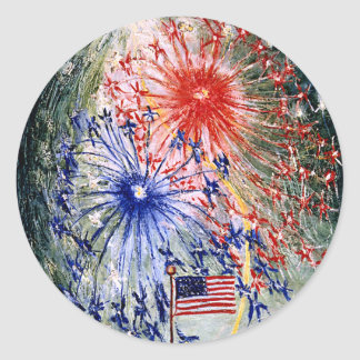 Fourth of July, Number 1, fine art painting Classic Round Sticker