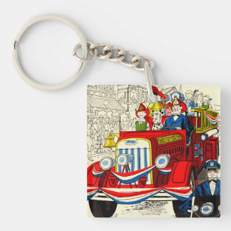 Fourth of July Parade Double-Sided Square Acrylic Keychain