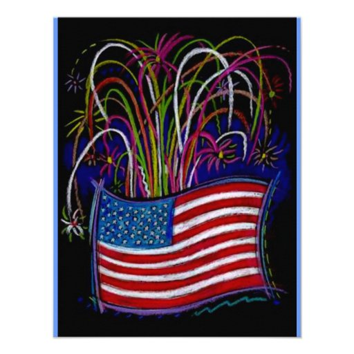 Fourth of July PARTY INVITATION OUR FLAG FIREWORKS