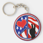 Fourth Of July Peace Love USA Basic Round Button Keychain