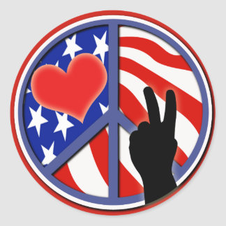 Fourth Of July Peace Love USA Stickers