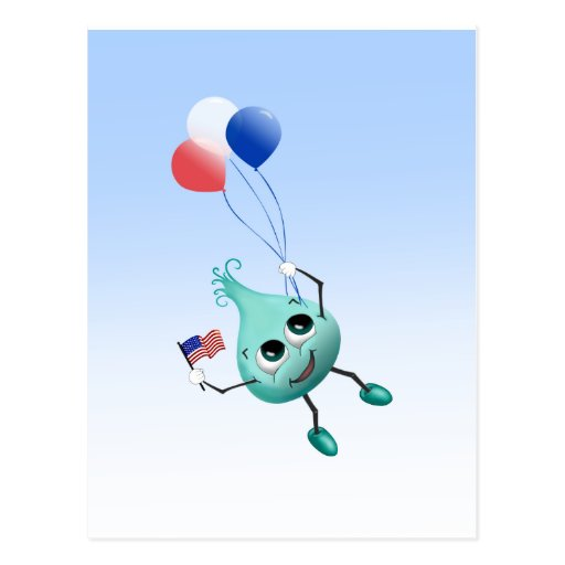 Fourth of July Peep with Balloons Post Card