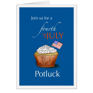 Fourth of July Potluck Invitation with Cupcake