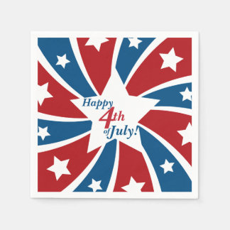 Fourth of July Red White Blue Stars and Stripes Paper Napkin