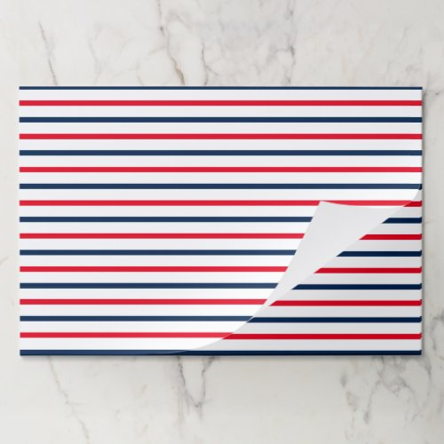 Fourth of July red white blue stripes placemat