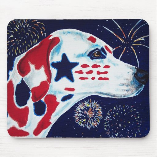 Fourth of July Star Spangled Dalmatian Mouse Pad