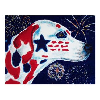 Fourth of July Star Spangled Dalmatian Postcard