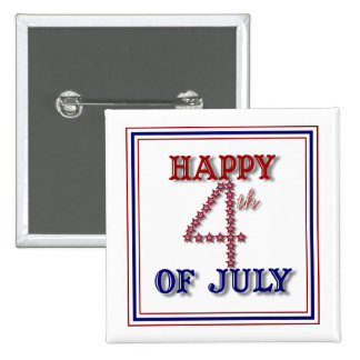 Fourth of July Stars Patriotic Button