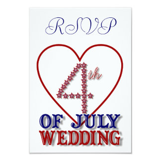 "Fourth Of July Stars Patriotic RSVP Card 3.5"" X 5"" Invitation Card"