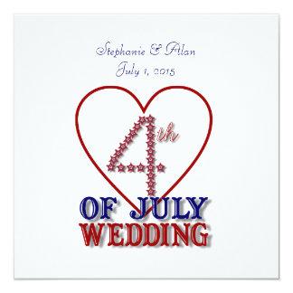 "Fourth of July Stars Wedding Invitation 5.25"" Square Invitation Card"