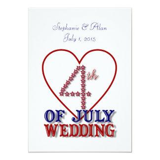"Fourth of July Stars Wedding Invitation 5"" X 7"" Invitation Card"