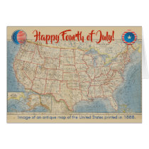 Fourth of July Vintage Map of United States Card