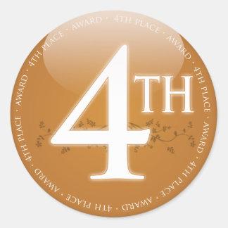 Fourth Place 4th Award Round Sticker