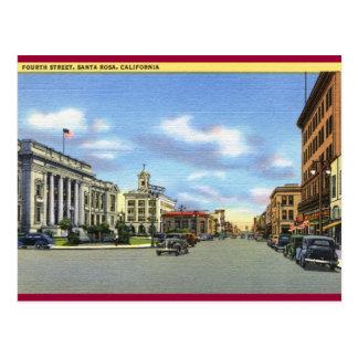 Fourth St., Santa Rosa CA Vintage Postcard