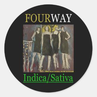 FOURWAY INDICA SATIVA ROUND STICKER