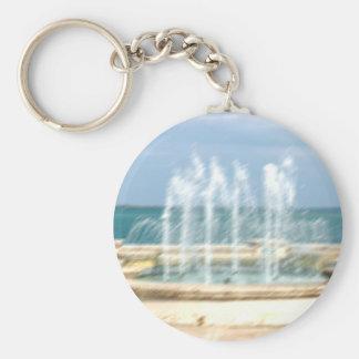 Foutain river sky water coral blur lighten basic round button keychain