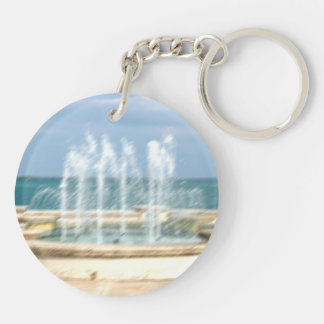 Foutain river sky water coral blur lighten Double-Sided round acrylic keychain