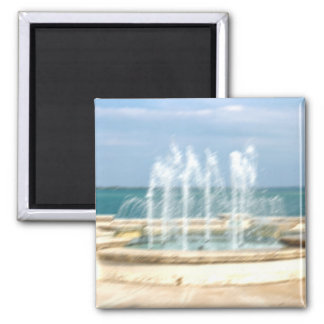 Foutain river sky water coral blur lighten 2 inch square magnet
