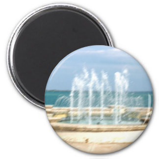 Foutain river sky water coral blur lighten 2 inch round magnet
