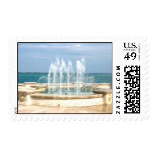 Foutain river sky water coral blur lighten postage stamp