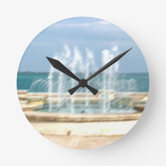 Foutain river sky water coral blur lighten round clock