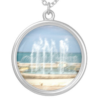 Foutain river sky water coral blur lighten round pendant necklace