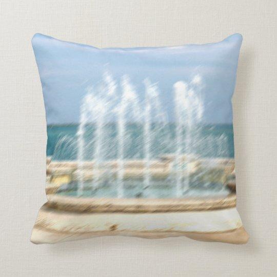 Foutain river sky water coral blur lighten throw pillow