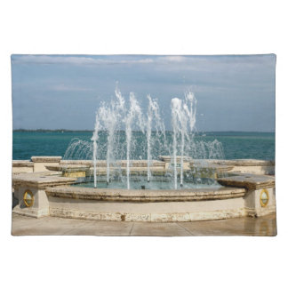 Foutain river sky water coral cloth placemat
