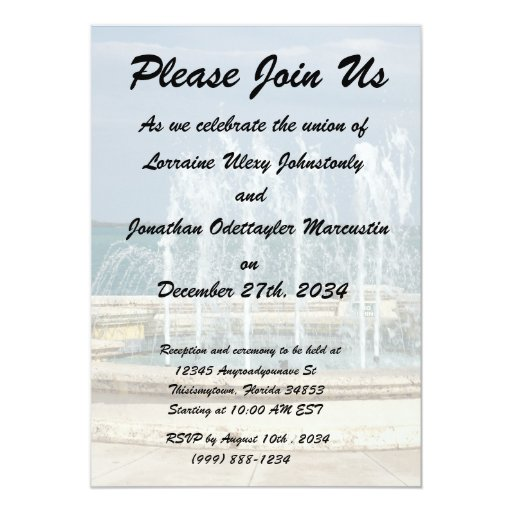 Foutain river sky water coral 5x7 paper invitation card