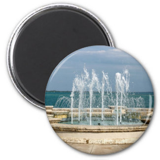 Foutain river sky water coral 2 inch round magnet