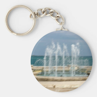 Foutain river sky water coral sketch blur basic round button keychain