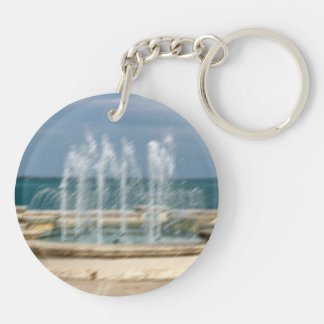 Foutain river sky water coral sketch blur Double-Sided round acrylic keychain