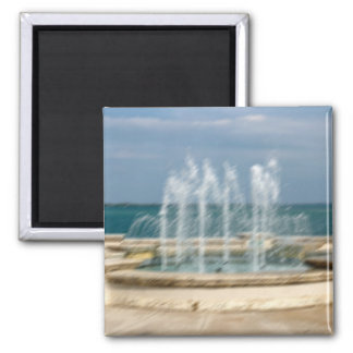 Foutain river sky water coral sketch blur 2 inch square magnet