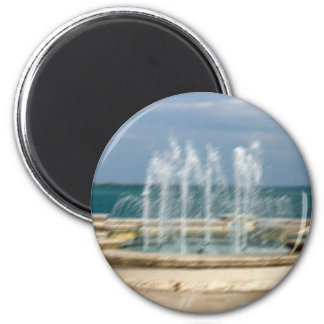 Foutain river sky water coral sketch blur 2 inch round magnet