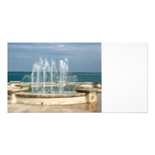 Foutain river sky water coral sketch blur photo card