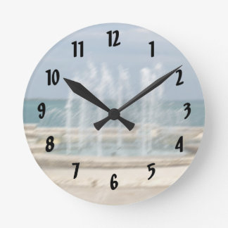 Foutain river sky water coral sketch blur round clock