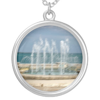 Foutain river sky water coral sketch blur round pendant necklace
