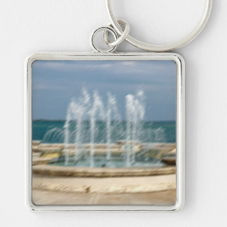 Foutain river sky water coral sketch blur Silver-Colored square keychain