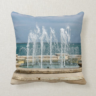 Foutain river sky water coral throw pillow