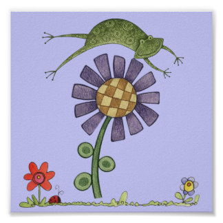 fower and frog poster