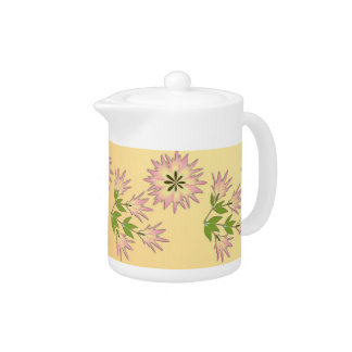 Fower Pink Pale Orange Teapot