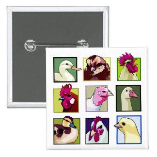 Fowl birds: Fowls (chicken, duck, goose, turkey) Button
