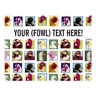 Fowl birds: Fowls (chicken, duck, goose, turkey) Postcard