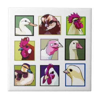 Fowl birds: Fowls (chicken, duck, goose, turkey) Tile
