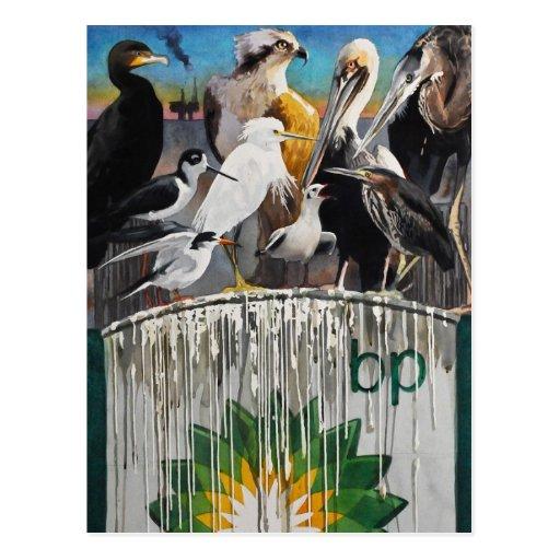 Fowl Language Oil Disaster Art Postcard