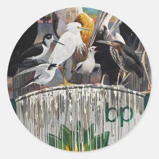 Fowl Language Oil Disaster Art Round Stickers