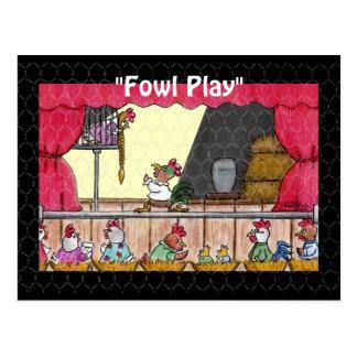 Fowl Play Chicken Rapunzel Postcard