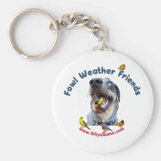 Fowl Weather Friends Dog Keychain