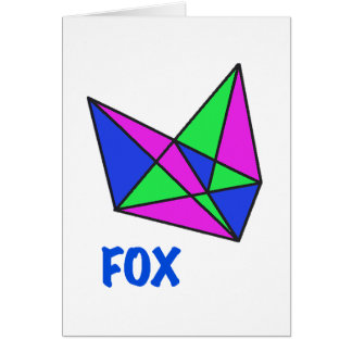 FOX, abstract, stained glass, gifts, t shirts Card