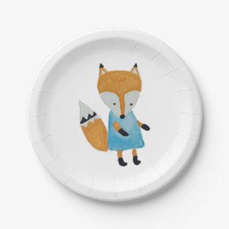 Fox adorable del arbolado de los amigos del bosque platos de papel